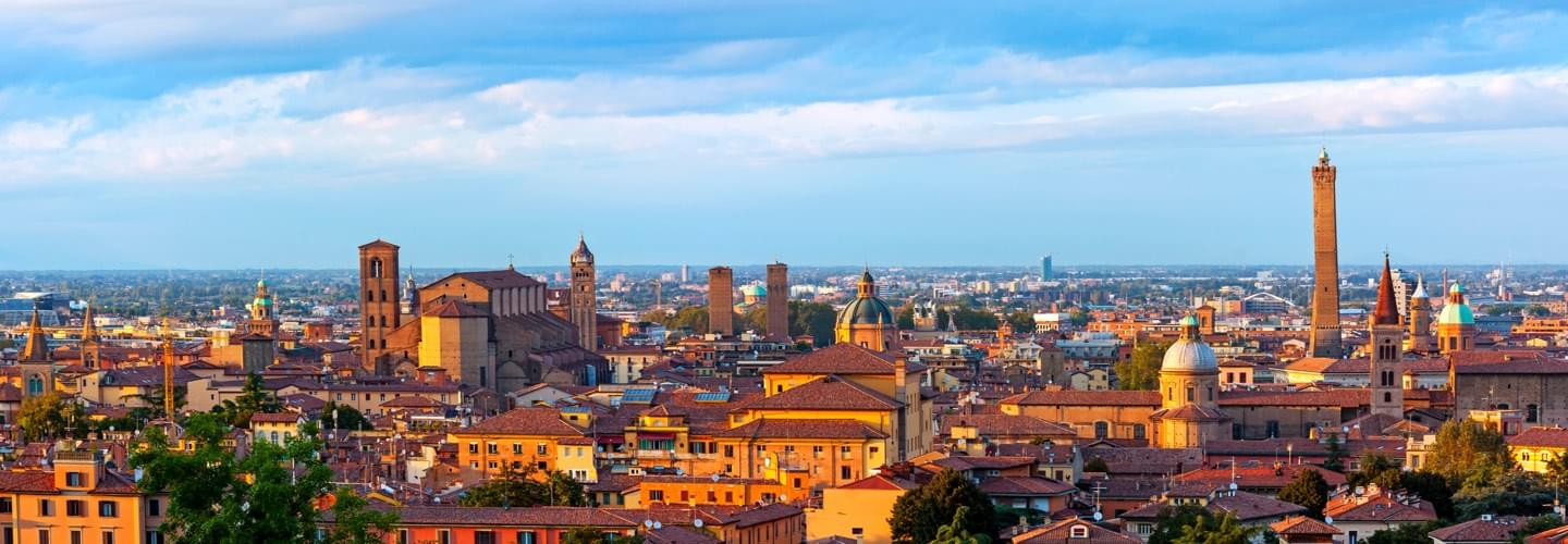 Aerial view of the Basilica San Petronio at sunset in Bologna