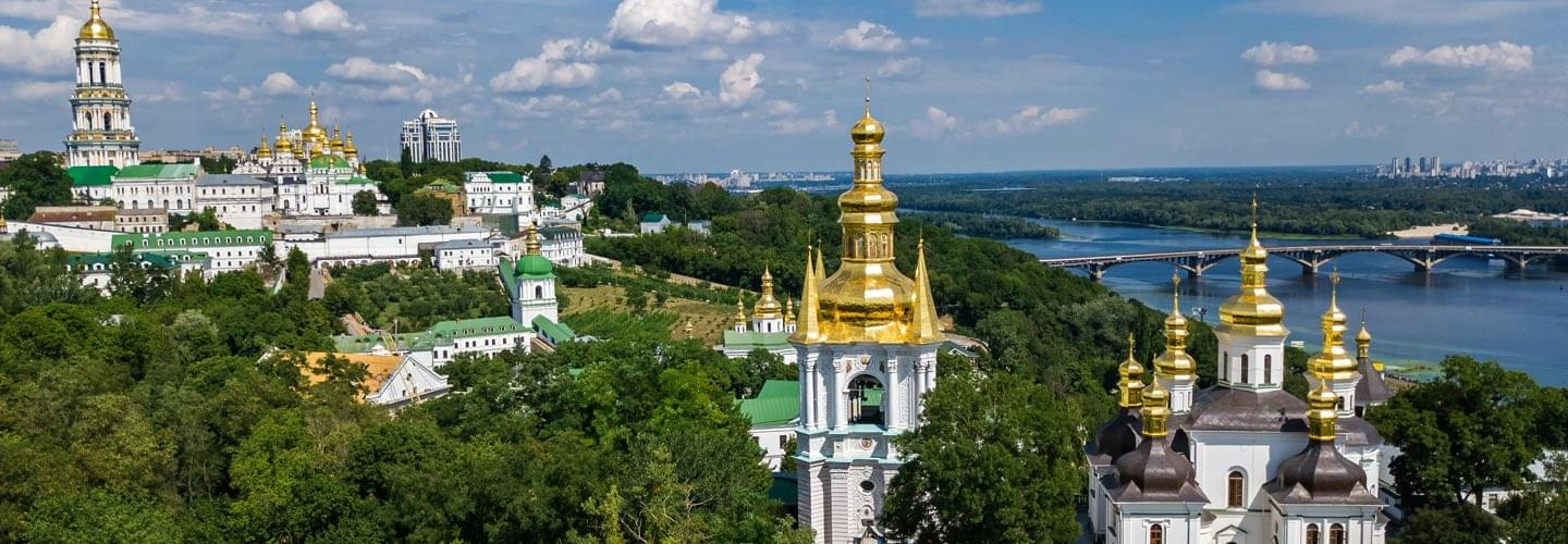 Aerial view of Kiev's Pechersk Lavra and St Sophia's Cathedral with the Dniepper river in background